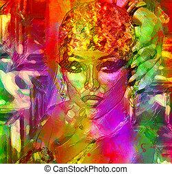 astratto, womans, faccia, arte, effetto, gel