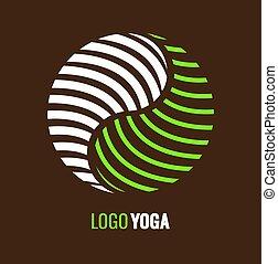astratto, yang yin, armonia, logotipo, equilibrio, simbolo