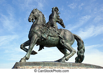 Russian queen astride a horse - a monument in Baltysk, Russia