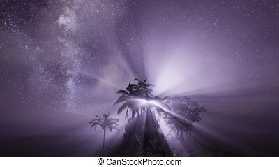 Astro of Milky Way Galaxy over Tropical Rainforest.