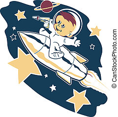 A little boy flying into space on a rocket