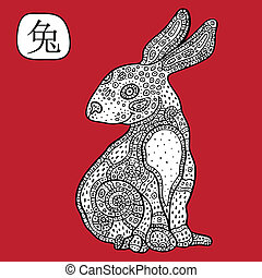 astrológico, chino, signo., animal, rabbit., zodiac.
