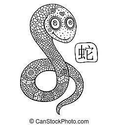 astrológico, chino, signo., animal, snake., zodiac.