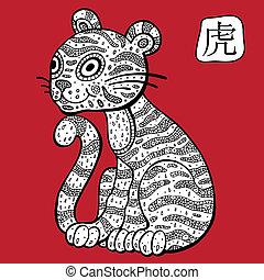 astrológico, chino, signo., animal, tiger., zodiac.