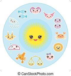 astrológico, stiker, sagitario, escorpión, leo, acuario, ...