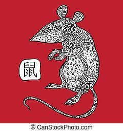 astrológico, zodiac., animal, signo., chino, rat.