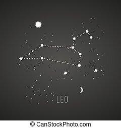 astrología, leo, pizarra, plano de fondo, señal