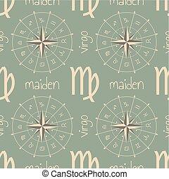 astrología, maiden., señal, seamless, patrón