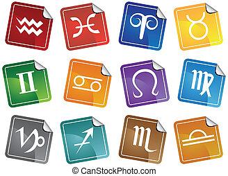astrologia, adesivo, set, icona