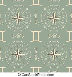 astrologia, twins., segno, seamless, modello