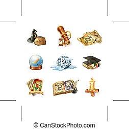 astrologia, wektor, ikony