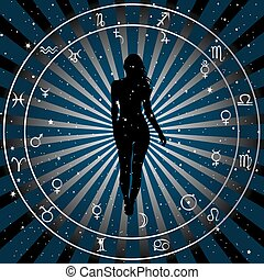 Astrologic zodiac horoscope background with silhouette of woman.