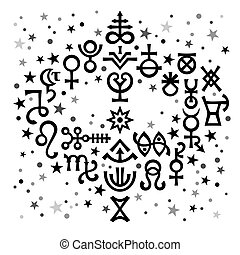 Astrological bouquet (astrological signs and occult mystical symbols), black-and-white celestial pattern background with stars.