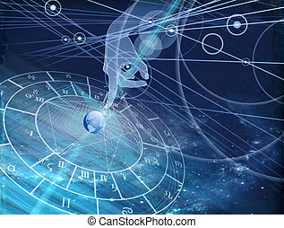 astrological chart on the background of the starry sky