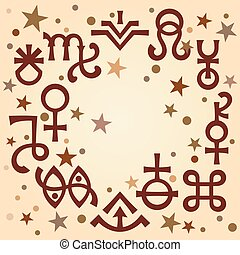 Astrological diadem (astrological signs and occult mystical symbols), antique celestial pattern background with stars.