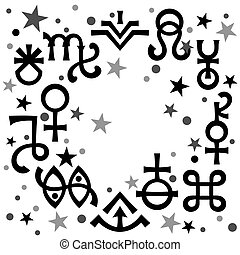 Astrological diadem (astrological signs and occult mystical symbols), black-and-white celestial pattern background with stars.