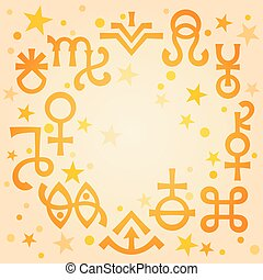 Astrological diadem (astrological signs and occult mystical symbols), warm morning celestial pattern background with stars.