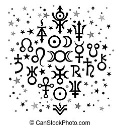 Astrological set N20 (astrological signs and occult mystical symbols), black-and-white celestial pattern background with stars.