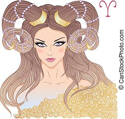 Astrological sign of Aries as a beautiful girl