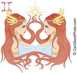 Astrological sign of Gemini as a beautiful girl