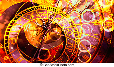 astrological symbol Zodiac. Abstract color background. ...