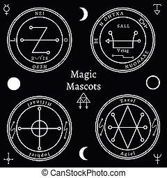 Astrological talismans set. Magical shape, creative religion...
