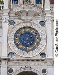 Astrological zodiac clock at St Marks Square in Venice