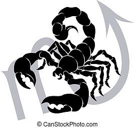 astrologie, zodiac, meldingsbord, horoscoop, schorpioen