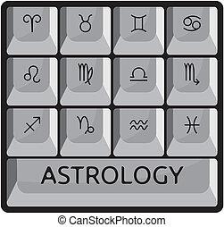 astrologie, zodiaque, signes, clavier