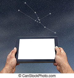 Astrology, horoscope, technology and people concept. Taurus Constellation. Zodiac Sign
