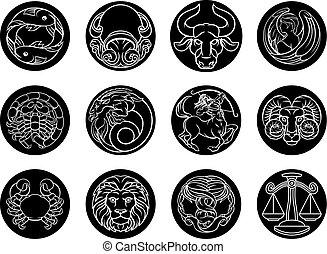 Astrology horoscope zodiac star signs icon set - Astrology...