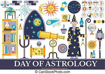Astrology house icons design illustration set. Flat horoscope items concept. Vector illustration layout background
