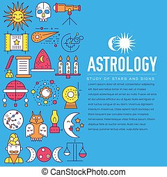 Astrology house icons outline design illustration. Thin line...