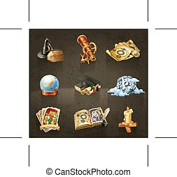 Astrology  icons  - Set with astrology icons on dark