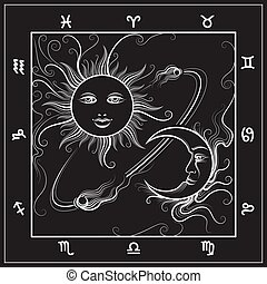 Astrology map with moon and sun