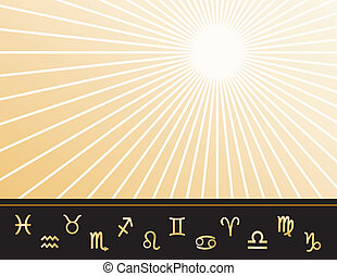 Astrology poster with copy space, 12 gold horoscope symbols: Aquarius, Aries, Cancer, Capricorn, Gemini, Leo, Libra, Pisces, Sagittarius, Scorpio, Taurus, Virgo. Gold ray star burst pattern background for stationery, announcements, ads, fliers. EPS8 compatible.