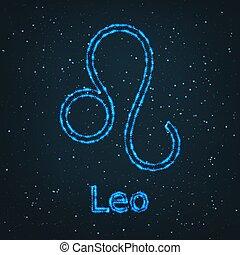 Astrology Shining Blue Symbol. Zodiac Leo.