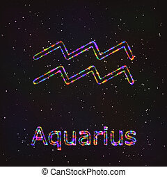 Astrology Shining Symbol. Zodiac Aquarius.