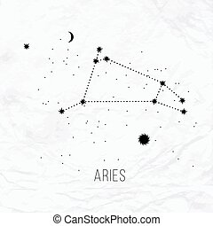 Astrology sign Aries on white paper background. Zodiac...
