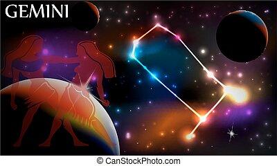 Astrology Sign - Gemini - Gemini - Space Scene with...