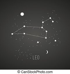 Astrology sign Leo on chalkboard background. Zodiac...