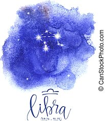 Astrology sign Libra on blue watercolor background with...