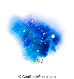 Astrology sign Libra on blue watercolor background. Zodiac...