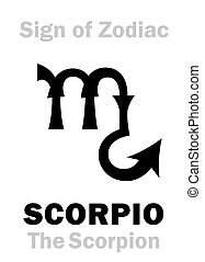 Astrology Alphabet: Sign of Zodiac SCORPIO (The Scorpion). Astrological character, hieroglyphic sign (variant symbol from the plate of Czech Medieval Zodiac of 15th century).