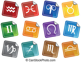 Astrology Sticker Icon Set - Horoscope themed buttons.