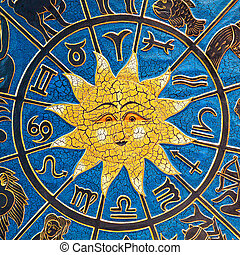 Astrology sun - Zodiac signs in circle with golden sun