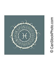 Astrology symbols in circle. Fish sign