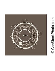 Astrology symbols in circle. Lion sign