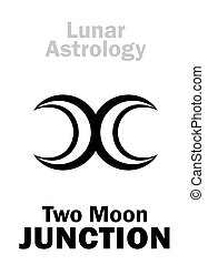 Astrology Alphabet: Two MOON junction. Astrological hieroglyphic sign of Lunar Magic. Mystical symbol of duality and infinity, variability and changeability. Emblem of the beginning & the end.