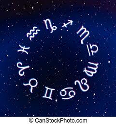 Astrology Zodiac signs wheel with twelve neon symbols in...